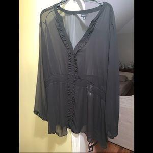 Torrid Sheer Black Blouse Size 5x